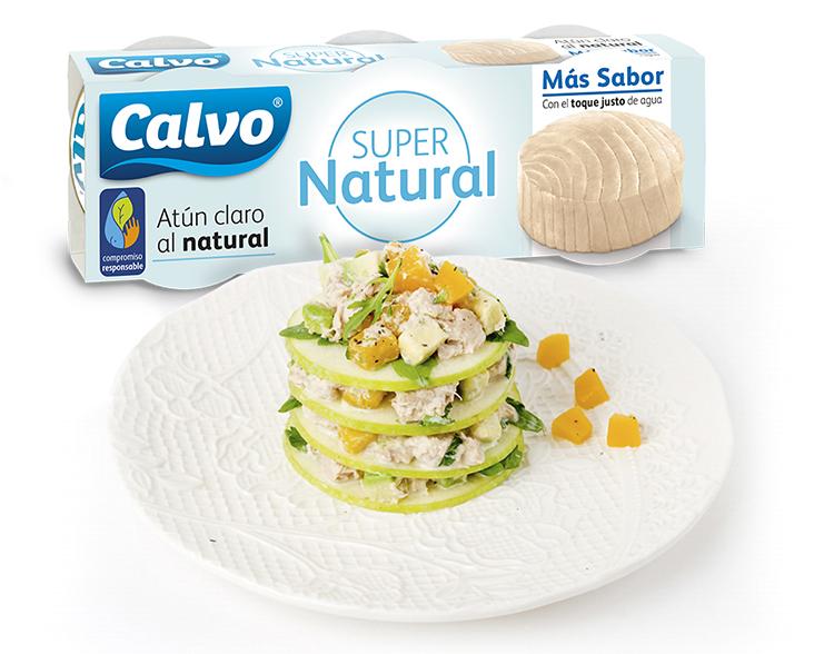 Atun Supernatural con receta-Milhoja-manzana-con-ensalada-de-atun-aguacate-melocoton-rucula