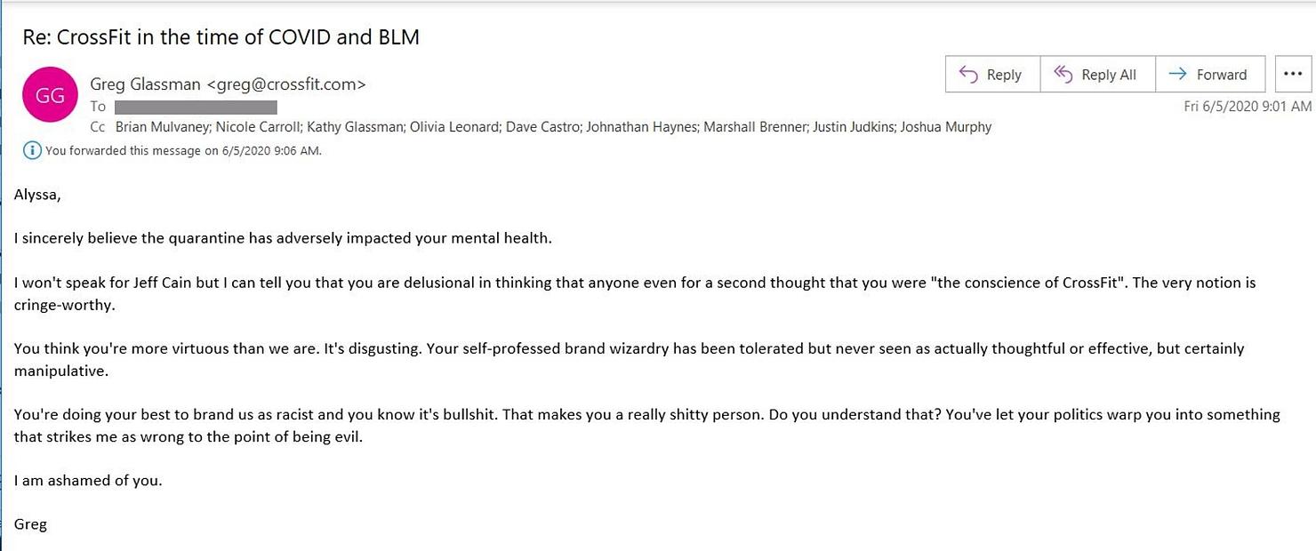 email-greg-glassman-racista-crossfit